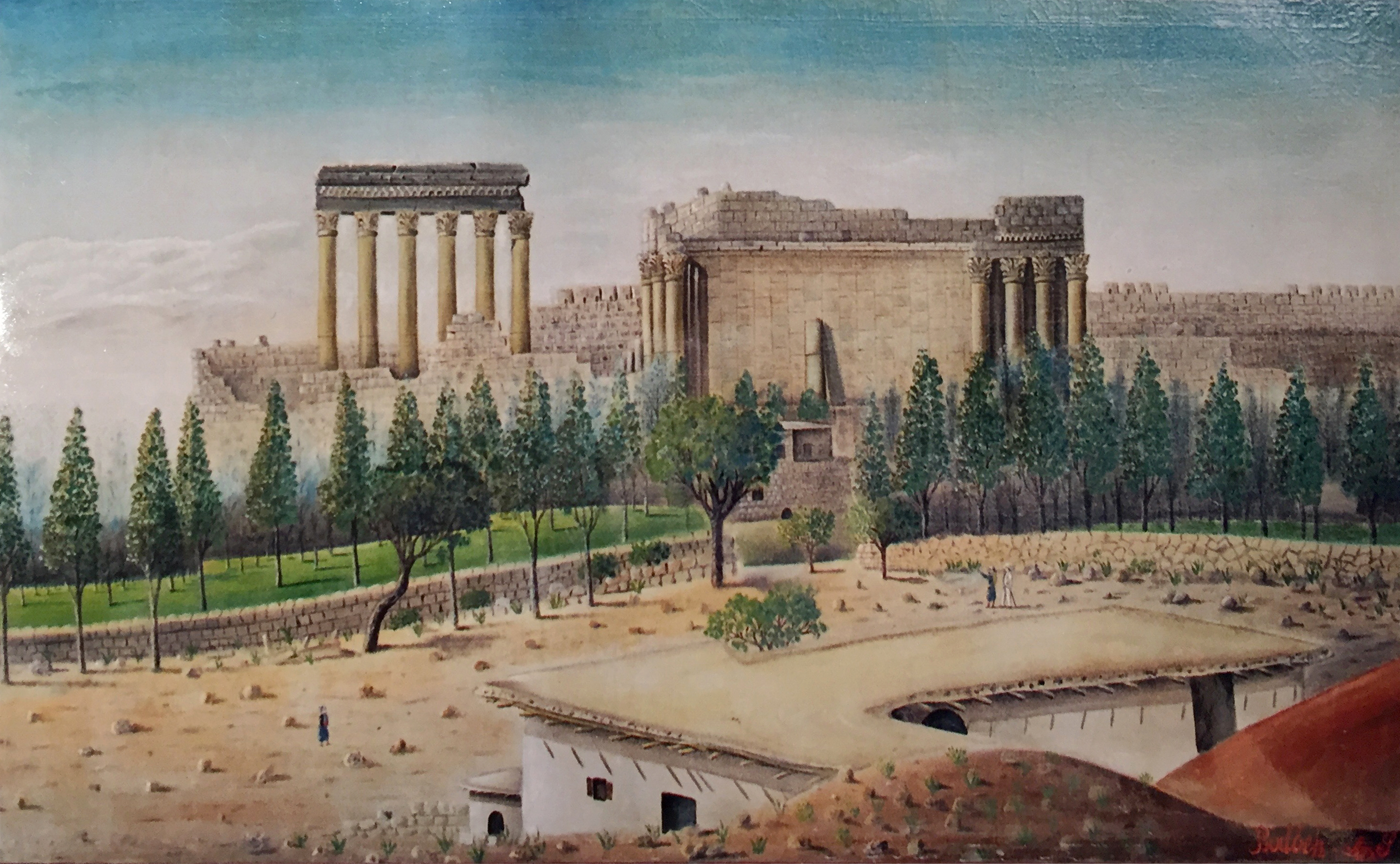 Baalbeck Huile sur toile 150x90cm - Collection Eddy Sfeir