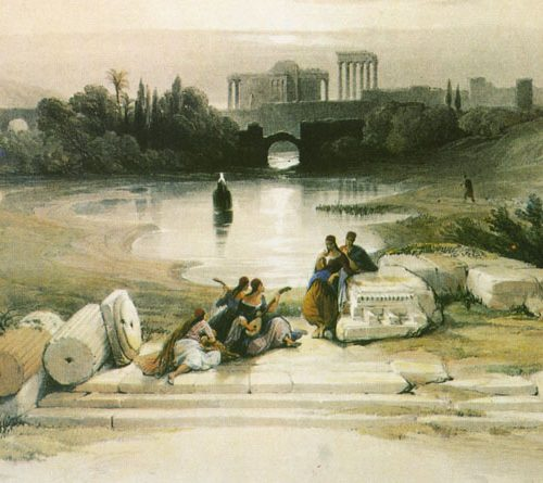 David Roberts Huile 80x45cm-Baalbeck from the fountain