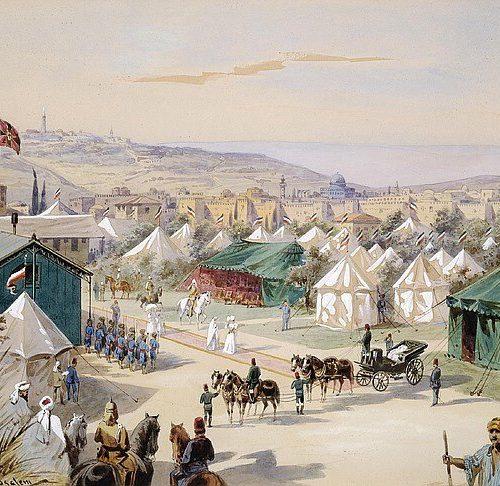 Friedrich Perlberg 1848-1921 aquarelle 42x56cm -1898- Camp Guillaume II près de Jérusalem