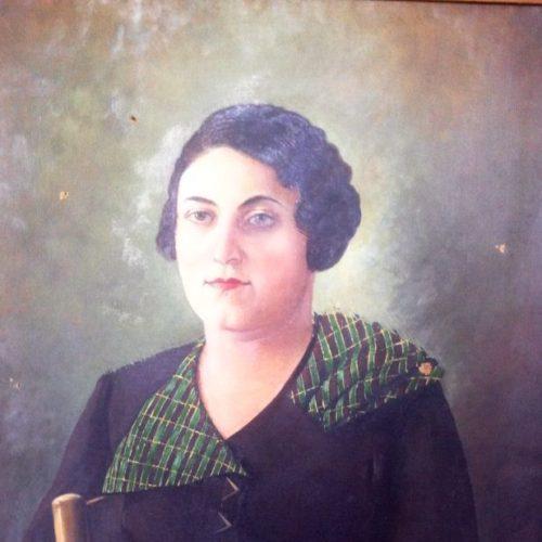Toufic Tarek - Portrait de Mme. Lilly Moukarzel - Sfeir - Huile sur toile - 55x65cm