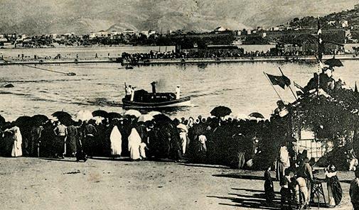 La foule du port de Beyrouth, lors de la visite de Guillaume II -1898